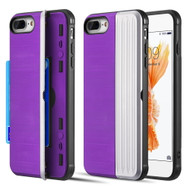 Kard Series Dual Hybrid Case with Card Slot and Magnetic Kickstand for iPhone iPhone 8 Plus / 7 Plus - Purple Silver