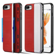 Kard Series Dual Hybrid Case with Card Slot and Magnetic Kickstand for iPhone iPhone 8 Plus / 7 Plus - Red Silver
