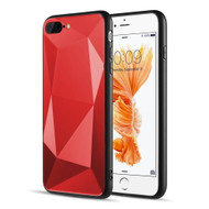 Scratch Resistant Diamond Cut Tempered Glass TPU Fusion Case for iPhone iPhone 8 Plus / 7 Plus - Red
