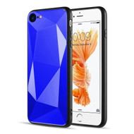 Scratch Resistant Diamond Cut Tempered Glass TPU Fusion Case for iPhone 8 / 7 - Navy Blue
