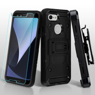 3-IN-1 Kinetic Hybrid Armor Case with Holster and Tempered Glass Screen Protector for Google Pixel 3 - Black