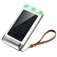 Solar Powered Power Bank Battery Charger 7200mAh with Triple USB Ports - White