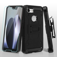 3-IN-1 Kinetic Hybrid Armor Case with Holster and Tempered Glass Screen Protector for Google Pixel 3 XL - Black