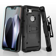 3-IN-1 Kinetic Hybrid Armor Case with Holster and Tempered Glass Screen Protector for Google Pixel 3 XL - Grey