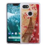 Quicksand Glitter Transparent Case for Google Pixel 3 XL - Eiffel Tower