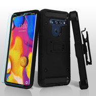 3-IN-1 Kinetic Hybrid Armor Case with Holster and Tempered Glass Screen Protector for LG V40 ThinQ - Black