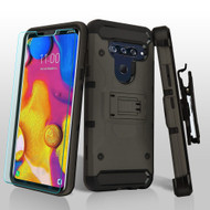 3-IN-1 Kinetic Hybrid Armor Case with Holster and Tempered Glass Screen Protector for LG V40 ThinQ - Grey