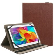 Universal Tablet Book-Style Leather Kickstand Case - Brown
