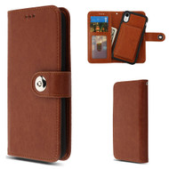 3-IN-1 Luxury Leather Wallet Case for iPhone XR - Brown