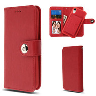 3-IN-1 Luxury Leather Wallet Case for iPhone XR - Red