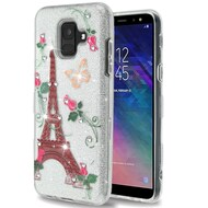 Tuff Full Glitter Diamond Hybrid Protective Case for Samsung Galaxy A6 (2018) - Paris Monarch Butterflies