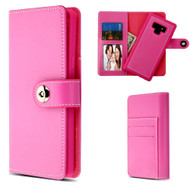 2-IN-1 Premium Leather Wallet with Removable Magnetic Case for Samsung Galaxy Note 9 - Hot Pink