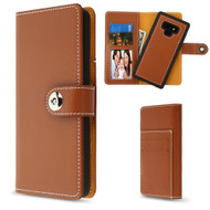 2-IN-1 Premium Leather Wallet with Removable Magnetic Case for Samsung Galaxy Note 9 - Brown