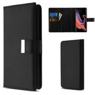 2-IN-1 Premium Tri-Fold Leather Wallet with Removable Magnetic Case for Samsung Galaxy Note 9 - Black