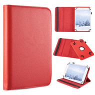 Universal 360 Degree Rotating Leather Folio Kickstand Case - Red