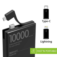Smart IC Technology 10000mAh Power Bank Battery with On-Board Micro-USB Cable & USB-C + Lightning Adapters - Black