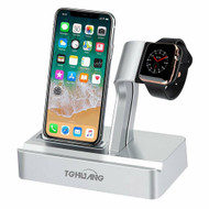 2-IN-1 Dock Stand Charging Station for Apple Watch and iPhone with Lightning Connector - Silver