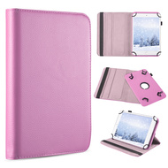 Universal 360 Degree Rotating Leather Folio Kickstand Case - Pink