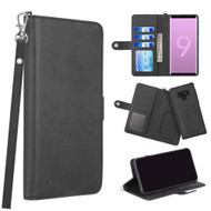 3-IN-1 Infinity Series Luxury Leather Wallet Case for Samsung Galaxy Note 9 - Black