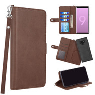 3-IN-1 Infinity Series Luxury Leather Wallet Case for Samsung Galaxy Note 9 - Dark Brown