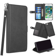 3-IN-1 Infinity Series Luxury Leather Wallet Case for iPhone 8 / 7 / 6S / 6 - Black