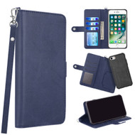 3-IN-1 Infinity Series Luxury Leather Wallet Case for iPhone 8 / 7 / 6S / 6 - Navy Blue