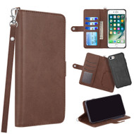 3-IN-1 Infinity Series Luxury Leather Wallet Case for iPhone 8 / 7 / 6S / 6 - Dark Brown