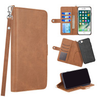 3-IN-1 Infinity Series Luxury Leather Wallet Case for iPhone 8 / 7 / 6S / 6 - Brown