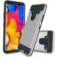 Brushed Coated Hybrid Armor Case for LG V40 ThinQ - Silver