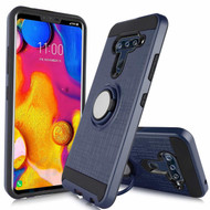 Sports Hybrid Armor Case with Smart Loop Ring Holder for LG V40 ThinQ - Blue