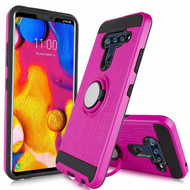 Sports Hybrid Armor Case with Smart Loop Ring Holder for LG V40 ThinQ - Hot Pink