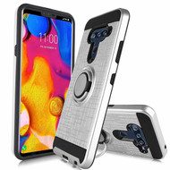 Sports Hybrid Armor Case with Smart Loop Ring Holder for LG V40 ThinQ - Silver