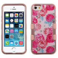 Military Grade Certified TUFF Image Hybrid Case for iPhone SE / 5S / 5 - Victorian Flower Rose Gold