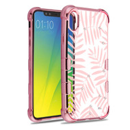TUFF Klarity Electroplating Transparent Anti-Shock TPU Diamond Case for iPhone XR - Dancing Palm Leaves