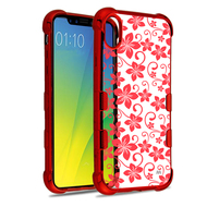 TUFF Klarity Electroplating Transparent Anti-Shock TPU Case for iPhone XR - Hibiscus Flower Red