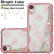 Tuff Lite Quicksand Electroplating Case for iPhone XR - Butterflies in Spring