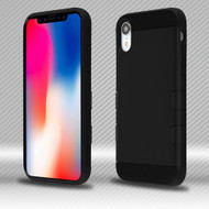 Military Grade TUFF Trooper Dual Layer Hybrid Armor Case for iPhone XR - Black