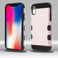 Military Grade TUFF Trooper Dual Layer Hybrid Armor Case for iPhone XR - Brushed Rose Gold