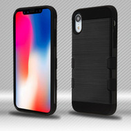 Military Grade TUFF Trooper Dual Layer Hybrid Armor Case for iPhone XR - Brushed Black