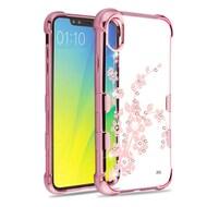 TUFF Klarity Electroplating Transparent Anti-Shock TPU Diamond Case for iPhone XS / X - Spring Flower
