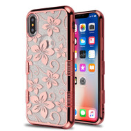 Tuff Lite Quicksand Glitter Electroplating Transparent Case for iPhone XS / X - Hibiscus Flower