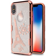 Tuff Lite Quicksand Glitter Electroplating Transparent Case for iPhone XS / X - Eiffel Tower