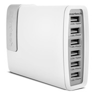 Naztech Turbo PB6 12500mAh Universal Power Bank Battery with 6 USB Charger - White Grey