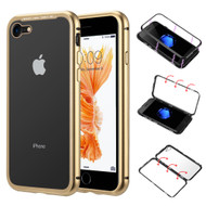 Magnetic Adsorption Aluminum Bumper Case with Tempered Glass Back Plate for iPhone 8 / 7 - Gold