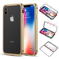 Magnetic Adsorption Aluminum Bumper Case with Tempered Glass Back Plate for iPhone XS / X - Gold