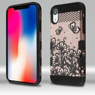 Military Grade TUFF Trooper Dual Layer Hybrid Armor Case for iPhone XR - Lace Flowers Rose Gold