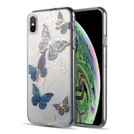 Laser Mirror Print Transparent Fusion Case for iPhone XS / X - Butterfly