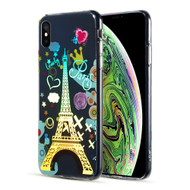 Decoration Series Holographic Printing Transparent Fusion Case for iPhone XS / X - Eiffel Tower