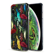 Decoration Series Holographic Printing Transparent Fusion Case for iPhone XS / X - Flamingo