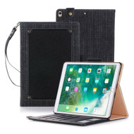 Leather Canvas Smart Folio Wallet Stand Case with Auto Sleep/Wake for iPad Pro 10.5 inch - Black